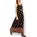 Cashew Print Spaghetti Strap Loose Maxi Dress