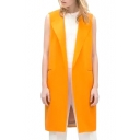 Yellow Lapel Open Front Sleeveless Tunic Coat