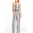 Mono Striped Halter Cutout Front Jumpsuit
