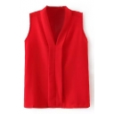 Red Plain V-Neck Sleeveless Blouse