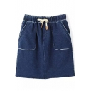 Blue High Waist Drawstring Short Denim Skirt