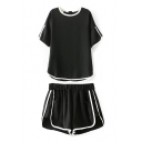 Contrast Trim Chiffon T-Shirt&Shorts Co-ords