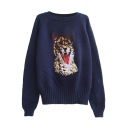 Embroidered Leopard Pattern Round Neck Long Sleeve Sweater