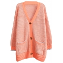 Plain Mesh Weave Knit V-neck Button Fly Midi Cardigan