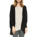 Black Plain Fitted Open Front Swallow Tail Hem Cardigan