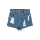 High-Rise Blue Denim Distressed Zipper Fly Shorts