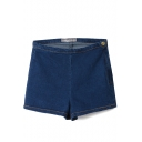 Dark Blue High Waist Skinny Elastic Denim Shorts