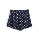 Navy Polka Dot Print Pleated Chiffon Shorts