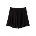 Black Elastic Waist Pleated Loose Cotton Shorts