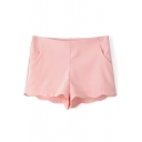 Pink Plain Wave Hem Pocket Zipper Side Shorts