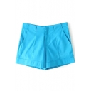 Light Blue Seam Detail Casual Shorts
