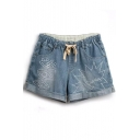 Light Blue Eyes&Bang Embroidered Denim Shorts