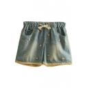 Apple Bear Embroidered Denim Shorts