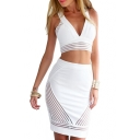 White V-Neck Sleeveless Crop Top with Midi Skirt