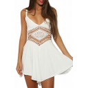 White V-Neck Geometry Cutout Slip A-line Dress