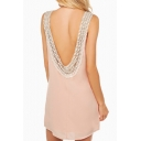Pink Backless Cutout Trim Detail Round Neck Dress