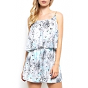 Blue Background White Flower Print Casual Slip Rompers