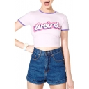 Light Purple Short Sleeve Weird Print Slim Crop T-Shirt