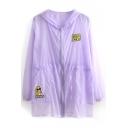 Purple Sheer Embroidered Long Sleeve Hooded Coat