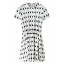 White Short Sleeve Black Geometry Print A-line Dress