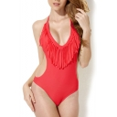Red Halter Top with Tassel Front One Piece