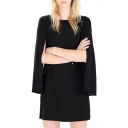 Black Split Sleeve Round Neck Cape Dress