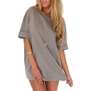 Gray Half Sleeve Loose Chiffon Dress