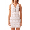 White Sleeveless V-Neck Lace Trim Dress
