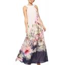 Floral Print Halter Sleeveless Maxi Tank Dress