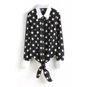 Black Polka Dot Lapel Long Sleeve Knotted Shirt