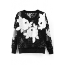 Black Lace Floral Crochet Sheer Long Sleeve Sweatshirt