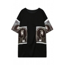 Black Short Sleeve Symmetric King Print T-Shirt Dress