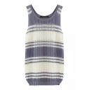 Gray&White Stripe Hollow Knitting Tanks