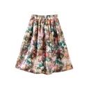 Multi Color Elastic Waist Floral Print Skirt