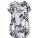 White Short Sleeve V-Neck Blossom Print Vintage Style Dress