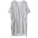 Striped V-Neck Short Sleeve Pocket Dip Hem Shirt