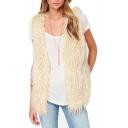 Concise Beige Fluffy Lamb Hair Vest
