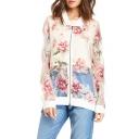 Off-duty Style Sheer Flower Print Zipper Fly White Jacket