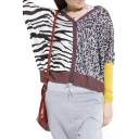 Zebra Striped Color Block Long Sleeve Loose Cardigan