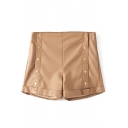 Khaki Plain Buttons PU High Waist Shorts