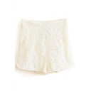 Beige Plain Lace Shorts with High Waist