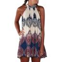 Ethnic Print Sleeveless Chiffon Swing Dress