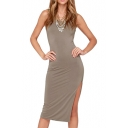 Twisted Back Sleeveless Fitted Midi Dress with Side Split