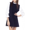 Black 3/4 White Sleeve Stand Collar Mini A-line Dress