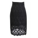 Plain Fashion Lace Cutout Office Lady Pencil Skirt