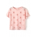 Pink Short Sleeve All Over Sheer Star T-Shirt