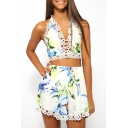 Print Halter Top with Crochet Hem Shorts