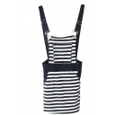 Black Striped Print Cotton Cute Overall Dress