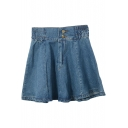 Blue Double Button Front Denim Short Skirt