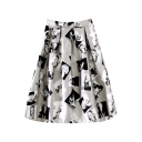 Gray High Waist Character Print Midi Skirt